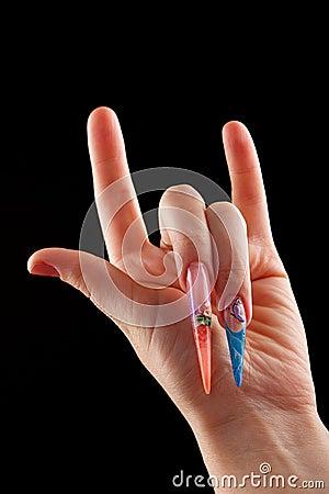 Rock on hand nail art