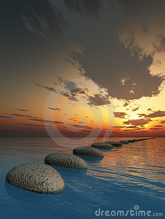 Free Rock In Night Sea Stock Photos - 12321433