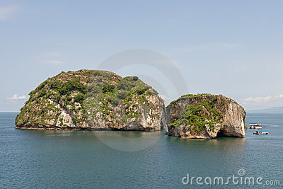 Rock islands in ocean