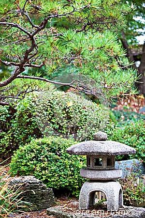 Rock lantern in Japanese zen garden