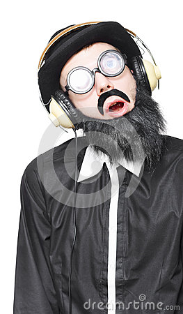 Rock Man Listening To Metal Music On Headphones