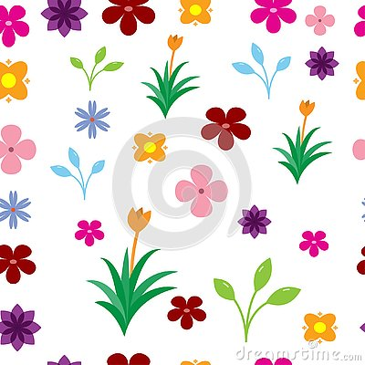 Seamless colorful flowers pattern on the white background Vector Illustration