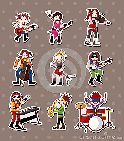 Rock music band stickers Vector Illustration