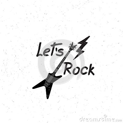 Free Rock Music Banner. Musical Sign Background. Let`s Rock Lettering Royalty Free Stock Photo - 101135745