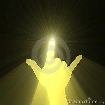 Rock music love hand gesture light flare