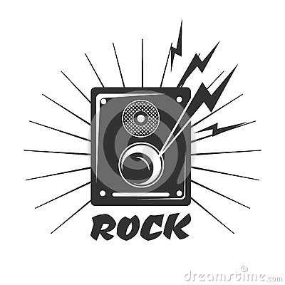 Free Rock Music Loud Speaker Logo In Black And White Colors Stock Image - 88754561