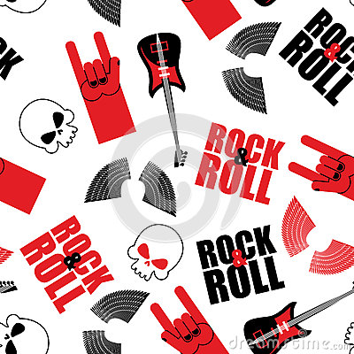 Free Rock Music Seamless Pattern. Guitar And Skull. Wings And Rock Royalty Free Stock Images - 60655799