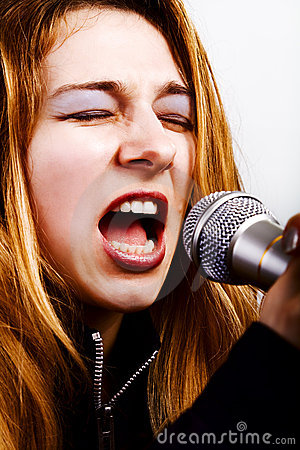 Rock music singer - woman with microphone
