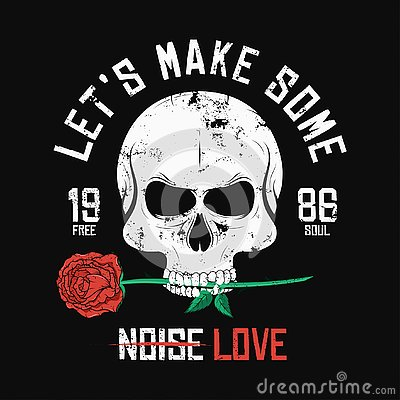 Free Rock Music Style T-shirt Design. Skull Is Biting And Holding Red Rose. Vintage Slogan Graphic For T-shirt Print Royalty Free Stock Photo - 129381765