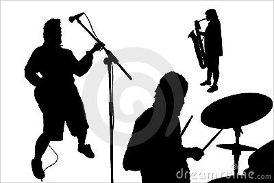Rock musicians silhouette