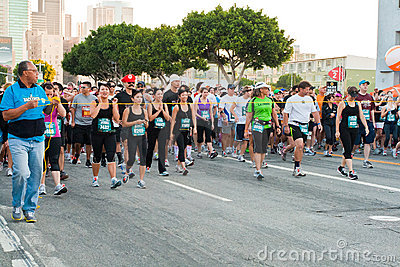 Rock  n Roll Marathon In Los Angeles At LA Live Editorial Photography