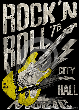 Free Rock N Roll Poster Guitar Graphic Design Tee Vector Art Royalty Free Stock Photo - 73382105