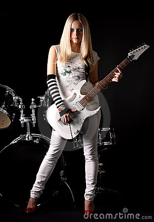 Free Rock-n-roll With The Beautiful Blonde Royalty Free Stock Photo - 7775835