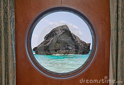 Rock in Ocean through Porthole