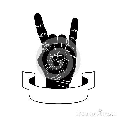 Free Rock On Hand Creative Sign With Ribbon, Music Emblem, Rock N Rol Stock Photo - 42237880
