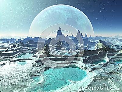 Rock Pools on Moonlit Alien Planet
