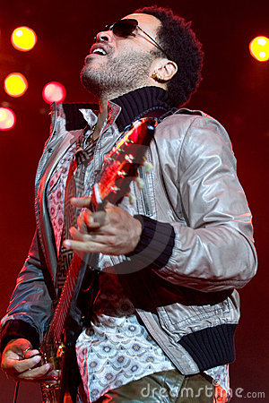 Rock singer Lenny Kravitz at concert Editorial Photo