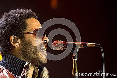 Rock singer Lenny Kravitz at concert Editorial Stock Image