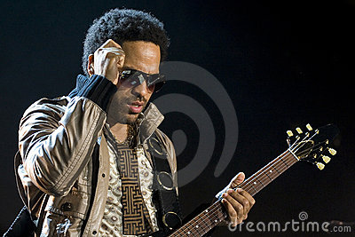 Rock singer Lenny Kravitz at concert Editorial Image