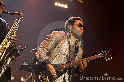 Rock singer Lenny Kravitz at concert Editorial Photography
