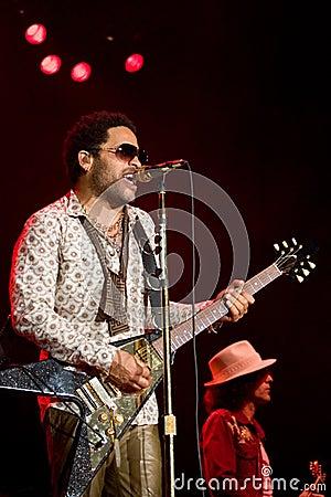 Rock singer Lenny Kravitz at concert Editorial Photography
