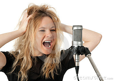 Rock singer screaming to the microphone