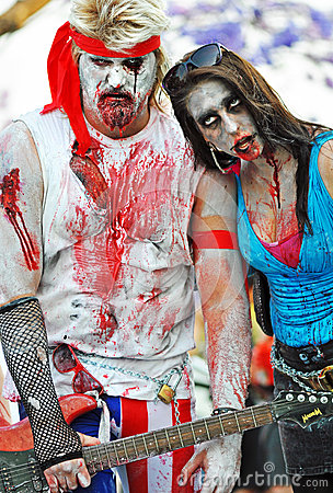 Free Rock Star & Crazy Fan Woman Groupie Zombies In Famous Annual Zombie Walk Event Brisbane City, Australia Stock Photos - 73334563