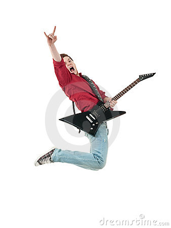 Rock star with a guitar jumping