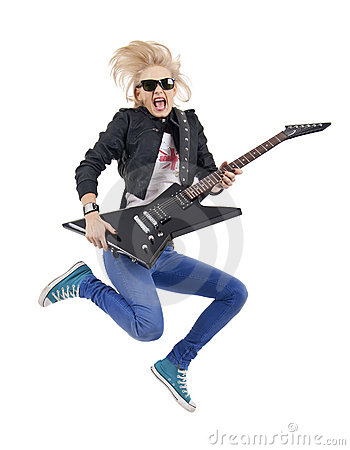 Rock star jumping and screaming