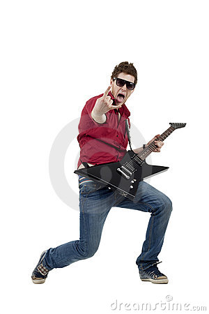 Rock star playing the guitar
