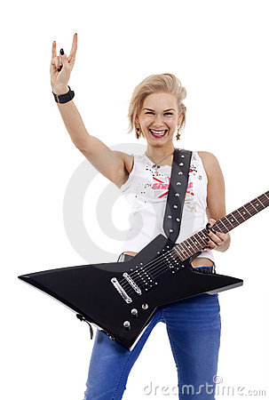 Rock star woman gesturing rock sign