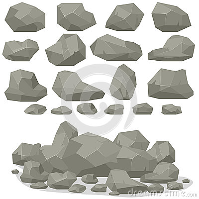 Free Rock Stone Cartoon In Isometric 3d Flat Style. Set Of Different Royalty Free Stock Images - 95998309