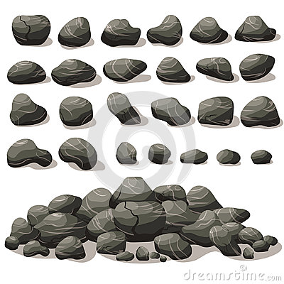 Free Rock Stone Cartoon In Isometric Flat Style. Set Of Different Stock Photos - 96057503
