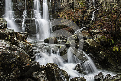 Rock and waterfall
