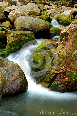 Rock waterfall with moss