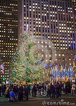 Rockefeller Center Crowd Editorial Stock Image