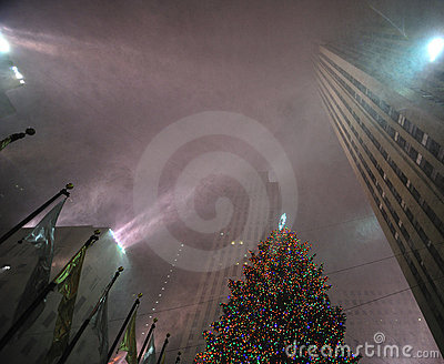 rockefeller center in the snow storm, nyc Editorial Photography