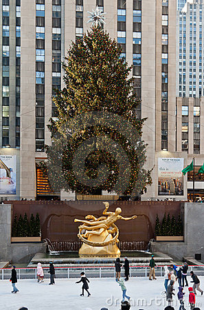 Rockefeller Ice Skate Ring New York City Editorial Stock Photo