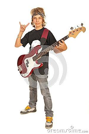 Rocker boy with guitar gesturing