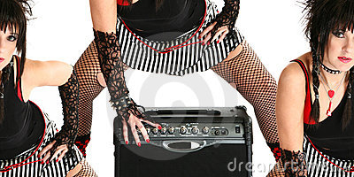 Rocker Chick with Guitar Amp