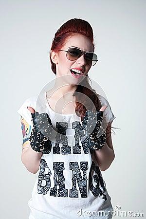 Rocker shouting girl