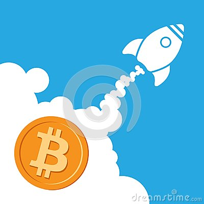 Free Rocket Bitcoin Icon Going Up. Cryptocurrency Startup Concept Royalty Free Stock Images - 103447609