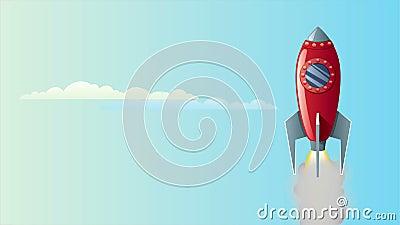 Rocket en cielo ilustración del vector