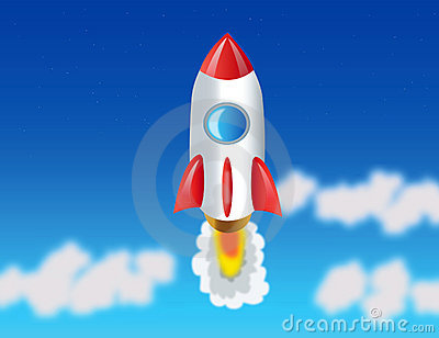 Rocket flying to cosmos