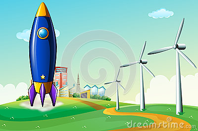 A rocket at the hill near the windmills