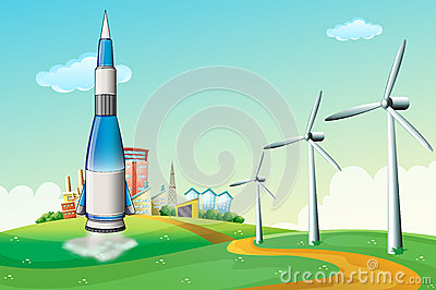 A rocket at the hilltop with windmills