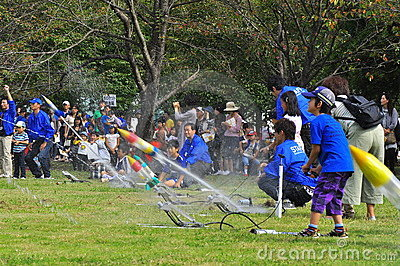 Rocket launching by children during JAXA open-hous Editorial Image