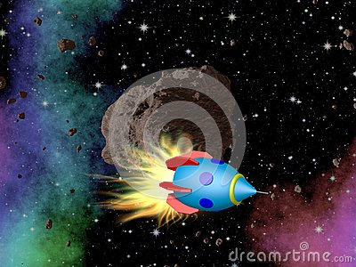 Rocket In Outer Space With Asteroid Stock Illustration ...