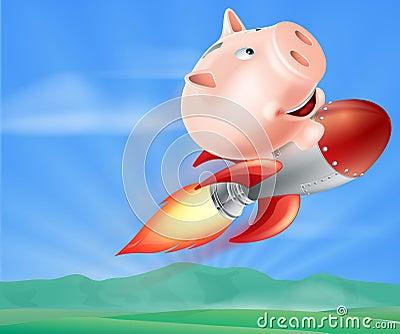 Rocket piggy bank stock vector image 40073511 - Rocket piggy bank ...
