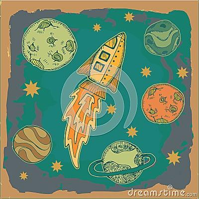 Rocket , science fiction cartoon childish illustration